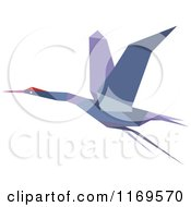 Clipart Of A Flying Purple Origami Heron Stork Or Crane Royalty Free Vector Illustration by Vector Tradition SM