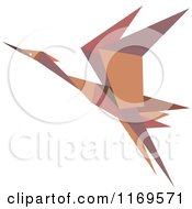 Clipart Of A Flying Brown Origami Heron Stork Or Crane Royalty Free Vector Illustration by Vector Tradition SM