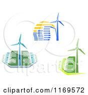 Clipart Of Energy Efficient Buildings And A Windmill Turbines Royalty Free Vector Illustration