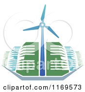 Green And Blue Energy Efficient Buildings And A Windmill Turbine