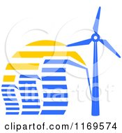 Clipart Of Blue Energy Efficient Buildings And A Windmill Turbine At Sunset Royalty Free Vector Illustration
