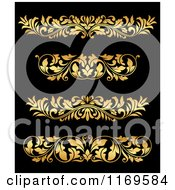 Clipart Of Golden Flourish Rule And Border Design Elements 17 Royalty Free Vector Illustration