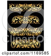 Clipart Of Golden Flourish Rule And Border Design Elements 19 Royalty Free Vector Illustration