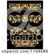 Clipart Of Golden Flourish Rule And Border Design Elements 18 Royalty Free Vector Illustration