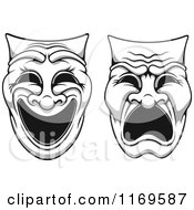 Clipart Of Grayscale Comedy Drama Theater Masks 2 Royalty Free Vector Illustration