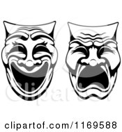 Clipart Of Black And White Comedy Drama Theater Masks Royalty Free Vector Illustration