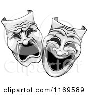 Clipart Of Grayscale Comedy Drama Theater Masks Royalty Free Vector Illustration