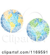 Clipart Of Globes Composed Of Recycle Items 2 Royalty Free Vector Illustration