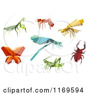 Clipart Of Origami Insects Royalty Free Vector Illustration