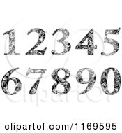 Clipart Of Black And White Vintage Floral Numbers Royalty Free Vector Illustration