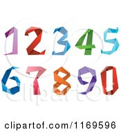 Clipart Of Colorful Origami Numbers Royalty Free Vector Illustration