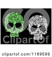 Clipart Of Green And White Floral Skulls On Black Royalty Free Vector Illustration by Vector Tradition SM