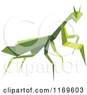Clipart Of An Origami Praying Mantis Royalty Free Vector Illustration