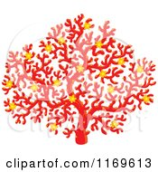 Clipart Of A Red Coral Sea Fan With Yellow Flowers Royalty Free Vector Illustration