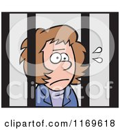 Cartoon Of An Imprisoned Businesswoman Behind Bars Royalty Free Vector Clipart by Johnny Sajem