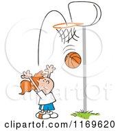 Cartoon Of A Little Girl Tossing A Basketball Through A Hoop Royalty Free Vector Clipart