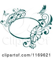 Clipart Of An Oval Butterfly Daisy Frame In Teal Royalty Free Vector Illustration
