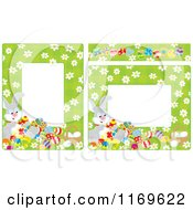 Cartoon Of Green Borders Of Daisies Easter Eggs And Rabbits Royalty Free Vector Clipart