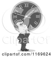 Cartoon Of A Grayscale Man Gazing Up At A Clock Daylight Savings Time Royalty Free Vector Clipart