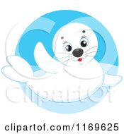 Cartoon Of A Cute White Baby Seal In A Blue Circle Royalty Free Vector Clipart by Alex Bannykh