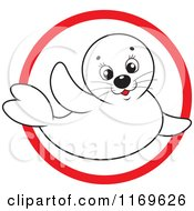 Cartoon Of A Cute White Baby Seal In A Red Circle Royalty Free Vector Clipart by Alex Bannykh