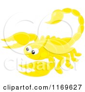 Cartoon Of A Cute Yellow Scorpion Royalty Free Vector Clipart