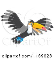 Cartoon Of A Happy Flying Toucan Bird Royalty Free Vector Clipart by Alex Bannykh