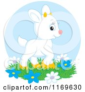 Cartoon Of A Cute White Baby Goat Kid With Flowers Over A Blue Circle Royalty Free Vector Clipart by Alex Bannykh
