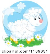 Cartoon Of A Cute White Fluffly Lamb Standing On Grass And Flowers Royalty Free Vector Clipart