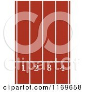 Clipart Of An Aerial View Down On A Red Running Track With Numbered Lanes Royalty Free Illustration