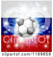 Clipart Of A Soccer Ball Over A Russian Flag With Fireworks Royalty Free Vector Illustration