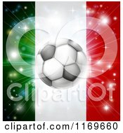 Clipart Of A Soccer Ball Over A Italy Flag With Fireworks Royalty Free Vector Illustration