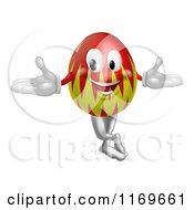 Cartoon Of A Welcoming Red And Yellow Easter Egg Mascot Royalty Free Vector Clipart