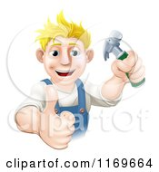 Cartoon Of A Happy Blond Carpenter Man Holding A Hammer And Thumb Up Royalty Free Vector Clipart