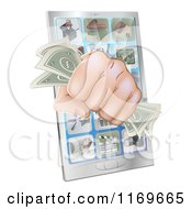 Fist With Cash Emerging From A Smart Phone