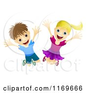 Cartoon Of Happy And Energetic Children Jumping Royalty Free Vector Clipart