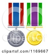 Gold And Silver Military Style Medals On Ribbons