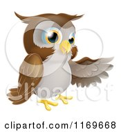 Cartoon Of A Brown Owl Presenting Royalty Free Vector Clipart by AtStockIllustration