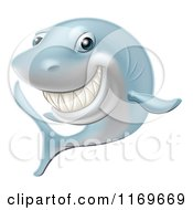 Cartoon Of A Happy Blue Shark Grinning Royalty Free Vector Clipart