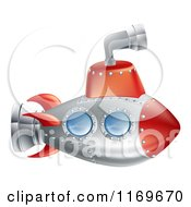 Cartoon Of A Red And Silver Submarine With A Periscope Royalty Free Vector Clipart by AtStockIllustration