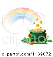 Cartoon Of A Rainbow And A Leprechauns Pot Of Gold Royalty Free Vector Clipart by Pushkin
