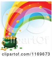 Cartoon Of A Rainbow Crashing Into A Leprechauns Pot Of Gold Royalty Free Vector Clipart by Pushkin