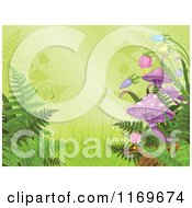 Clipart Of A Rainforest Background With Ferns Bellflowers And Mushrooms Royalty Free Vector Illustration by Pushkin