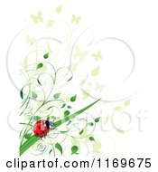 Clipart Of A Ladybug Butterfly And Foliage Background Royalty Free Vector Illustration