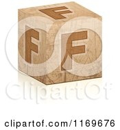 Clipart Of A Brown Grungy Letter F Cube Royalty Free Vector Illustration