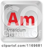 Clipart Of A 3d Red And Silver Americium Chemical Element Keyboard Button Royalty Free Vector Illustration