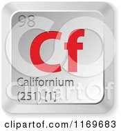 Clipart Of A 3d Red And Silver Californium Chemical Element Keyboard Button Royalty Free Vector Illustration