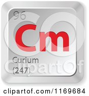 Clipart Of A 3d Red And Silver Curium Chemical Element Keyboard Button Royalty Free Vector Illustration