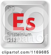 Clipart Of A 3d Red And Silver Einsteinium Chemical Element Keyboard Button Royalty Free Vector Illustration