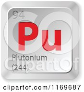 Clipart Of A 3d Red And Silver Plutonium Chemical Element Keyboard Button Royalty Free Vector Illustration
